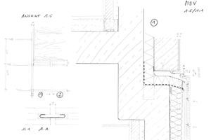 Frühe Skizzen zu den An- und Abschlüssen der Keramikfassade