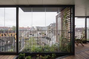Die Architekten mussten keine Änderungen an den Wohnungsgrundrissen vornehmen. Neu ist der Laubengang mit Balkonen und kleinen Beetflächen, die sich sowohl in der Horizontalen als auch in der Vertikalen abwechseln