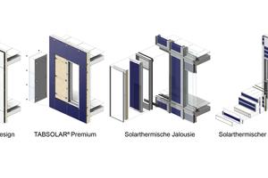 Fassadenkollektorkonzepte: TABSOLAR Design und TABSOLAR Premium, solarthermische Jalousie und solarthermischer Streifenkollektor