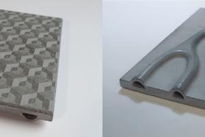 Mikro-Oberflächenstrukturierung (links) und FracTherm-Struktur als Gestaltungselement