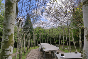 Ferdinand Ludwig, Professor für Green Technologies in Landscape Architecture, und sein Team bauen mit lebenden Werkstoffen einen Pavillon, der als Sommerküche genutzt werden soll. Bäume bilden die Stüzen des Daches
