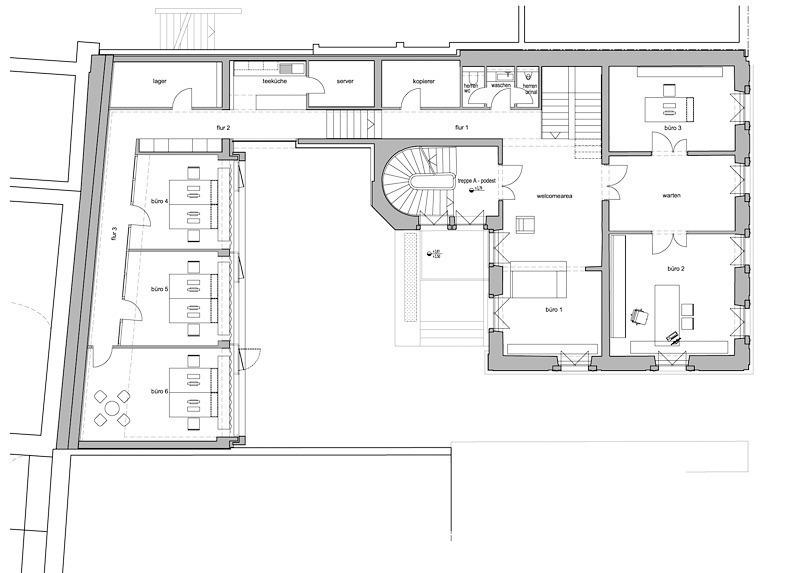 Grundriss Umbau Eines Wohnhauses In Ein Buro Weissliliengasse Mainz