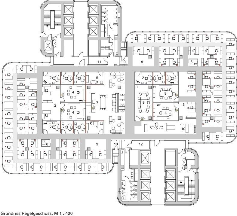 moderne burokonzepte grundriss, deutsche bauzeitschrift, Design ideen