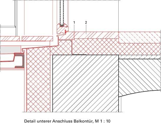 Eingangstür detail schnitt  Mitten im LebenProjekt KÖ 15 in Lübeck - Deutsche BauZeitschrift