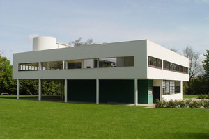 """""""Das aufgeständerte Wohnhaus"""", so der Auslober, """"ist ein Paradebeispiel für die Integration des Autos in das architektonische Konzept."""" (Villa Savoye)"""