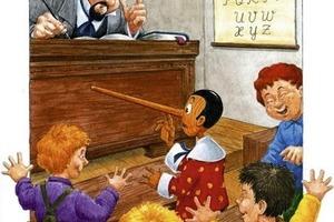 Als Pinocchio schummelt, um sich besser zu machen, wächst ihm eine lange Nase. Symbol oder Vorstellung. Wer ist da wohl auf dem Holzweg?<br />