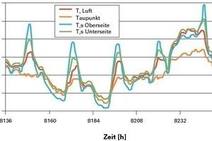 Bild 5: Lufttemperatur und für den Versuchsstand[2] berechnete Oberflächentemperaturen sowie Taupunkttemperatur[3]<br /><br />