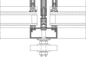 Bild 8: Horizontalschnitt durch Fassadenpfosten mit möglicher Nachrüstung seilgeführter Raffstore [13]<br />