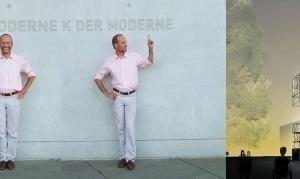 Andres Lepik vor seiner neuen Wirkungsstätte in München. Die Visualisierung rechts stammt aus dem Büro J. Mayer H.<br />