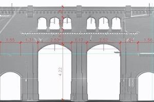 Bestandserfassung bis ins Detail: Gesimse, Lisenen und Steinformate der Steinlein-Halle lassen sich auch im 2D-Abbild exakt vermessen