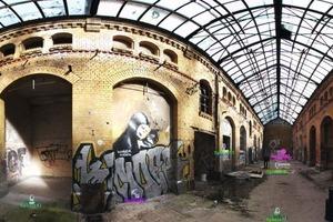 Panoramaansicht der Steinlein-Halle: In einem Scan erfassen innovative 3D-Laserscanner das Gebäude detailliert und in Farbe