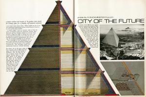 Stadtvision von Buckminster Fuller, City of the Future, Playboy, Januar, 1968, S. 166-167