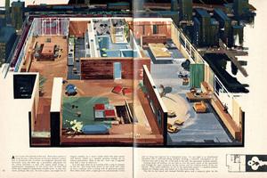Den fiktiven Junggesellenwohnungen in der Stadt, folgten Besprechungen von gebauten: Penthouse Wohnung des Playboys James E. Tucker, Designer, Playboy, September 1956