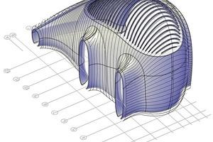 Dieses 3D-CAD-Modell definiert unter anderem die Ausrichtung, Platzierung und Geometrie jeder einzelnen Lamelle