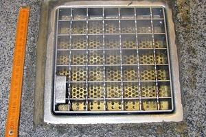 Bild 7: Anschluss der Bodenbeschichtung mit Dichtstofffuge an einen Ablauf