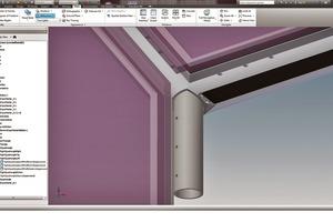 """Bei der maschinellen Verarbeitung durch den Metallbauer, hier ein 3D-Modell in """"SchüCAD Inventor"""", ist die Detailierung bereits systematisch ergänzt. Auch auf dieser Ebene bleibt aufgrund der einheitlichen, vom Fassadenplaner kommenden Datenbasis das Handling """"schlank"""" und effizient"""