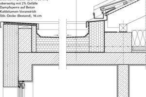 Detail Flachdachanschluss Satteldach, M 1:20