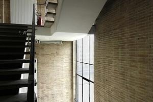 Treppenhaus mit Tageslicht und Handlauffunktionalität. Heizkörper in Vorwandmontage vor Einscheibenverglasung