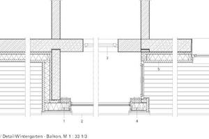 Horizontaldetailschnitt Balkon/Wintergarten, M 1:33<sup> </sup><sup>1</sup>/3