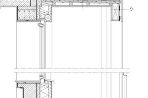 Vertikaldetailschnitt Balkon, M 1:33<sup> </sup><sup>1</sup>/3