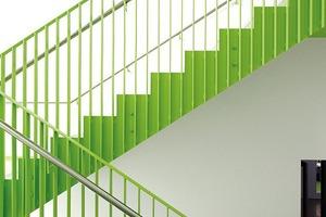 Treppenhäuser in Grün und sehr robust ausgeführt