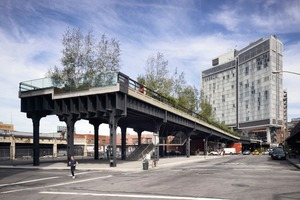 Die High Line, hier ein Blick von der Gansevoort Street zum The Standard Hotel. Links wird Renzo Piano Workshop einen Museumsneubau errichten<br />