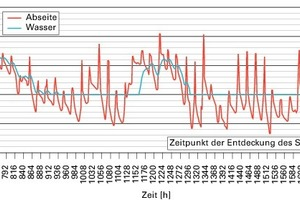 Bild9: Berechnete Temperaturen (Randbedingungen: Abseitenwand gedämmt, Temperatur im Gebäude: 20 °C, Rohrdämmung trocken)<br />