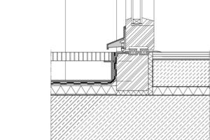 Detail: Schwellenfreier Übergang bei durchgehender Betondecke<br />
