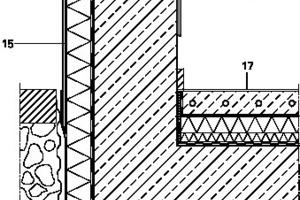 &nbsp;Sockeldetail, M 1: 15<br />&nbsp;Legende Detail Fassaden<br />&nbsp;<br />&nbsp;<br />1 Titanzinkblech, Ansichtsseite farbig beschichtet<br />2 Ansicht Leibung, Außenverkleidung Lärche<br />3 Wärmedämmung, XPS<br />4 Festverglasung<br />5 Öffnungsflügel<br />6 Polymerbitumenbahn 2-lagig, beschiefert<br />7 Wärmedämmung, Steinwolle<br />8 Dachplatte, OSB<br />9 Akustikdecke<br />10&nbsp;&nbsp;&nbsp;&nbsp; Randträger, BSH<br />11&nbsp;&nbsp;&nbsp;&nbsp; Brüstungsbrett, verdeckt befestigt<br />12&nbsp;&nbsp;&nbsp;&nbsp; Deckenaufbau:<br /> Linoleum, inkl. Ausgleichspachtelmasse<br /> Zementestrich als Heizestrich<br /> MF-Trittschalldämmung<br /> trockene Schüttung<br /> Deckenplatte, OSB<br />13&nbsp;&nbsp;&nbsp;&nbsp; Verkleidung, Zinkblech<br />14&nbsp;&nbsp;&nbsp;&nbsp; Bohrung zur Entwässerung<br />15&nbsp;&nbsp;&nbsp;&nbsp; Abdeckblech, farbig beschichtet<br />16&nbsp;&nbsp;&nbsp;&nbsp; Perimeterdämmung<br />17&nbsp;&nbsp;&nbsp;&nbsp; Fußbodenaufbau:<br />Linoleum, inkl. Ausgleichspachtelmasse<br />Zementestrich als Heizestrich<br />Wärmedämmung<br />Trittschalldämmung<br />Abdichtung, Bitumen-Dichtbahn<br />Fundamentplatte, Stahlbeton<br />Perimeterdämmung<br />18&nbsp;&nbsp;&nbsp;&nbsp; Brüstungsbrett, farbig beschichtet &nbsp;<br />