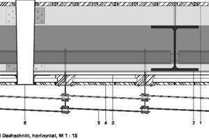 Detail Dachschnitt, horizontal, M 1:15<p>1Decke, Eiche, Nut-Feder</p><p>2Stahlkonstruktion IPE</p><p>3Unterkonstruktion Sperrholz, wasserbeständig</p><p>4Fassade, Hartholz</p><p>5Fassadenverkleidung, gemustertes, gehärtetes Glass</p><p>6Oberlicht</p>