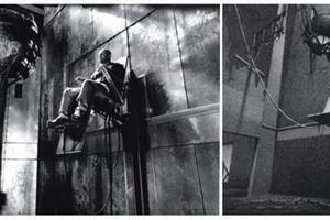 "Film-Still ""12 Monkeys"" (links); Neomechanical Turm (rechts)"