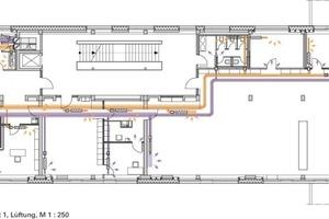 1. Obergeschoss Trakt 1, Lüftung, M 1:250<br />