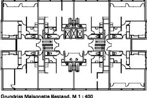 Grundriss Maisonette Bestand, M 1:400