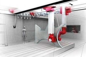 Abb. 7: Robotergestützter schalungsloser Betonspritzprozess