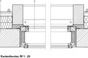 Horizontalschnitt Kastenfenster, M 1:20