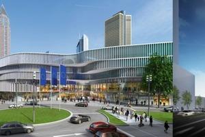 """Links """"Skyline Plaza"""", rechts der Hotelturm von UNStudio in Warteposition<br />"""