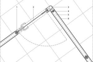Legende Detail 7<br /><br /><br />1Aluminiumrahmen<br />2Schwingtür, Glas<br />3Eckknotenprofil, Aluminium, variable Drehung 90-180°<br />4Stütze, vertikal, einstellbare Anpassung<br />5Randeinfassungsprofil, horizontal<br />6Trennwandsystem, Doppelverglasung,<br /> doppelte Glasschicht innerhalb und außerhalb der Stützen PVC-Wälzlagersystem<br /><br />