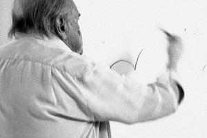 Der Meister beim Zeichnen, hier zum Spaßbad in Potsdam (nicht realisiert) 2007