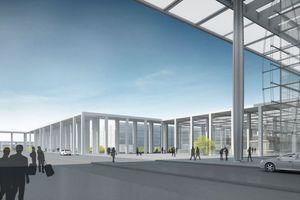 Pavillons links und rechts des Terminals