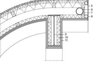 Attikadetail<br />Legende Detail<br /><br /><br />1Dielen aus Eichenholz,<br />Gehobelt und feuergeschützt,<br />individuelle Ausformung, keilförmig,<br />Befestigung vor Ort,<br />2Zweilagige Akustikplatten mit schwarzem Tuch,<br />3Lattung vertikal,<br />4Foyer, Horizontallattung<br />5Stahlplatten, pulverbeschichtet,<br />6Stahlrohr<br />7Befestigung Stahlrohr<br />8Hohlprofil<br />9Stahlkonstruktion<br />10 Dämmung<br />11 Gipskartonplatten<br /><br />