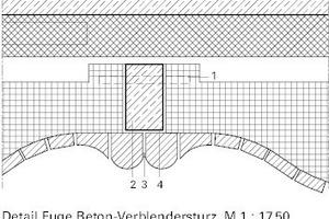 1 Kippsicherung<br />2 Leichtbetonkern<br />3 Elastische Kittfuge, besandet<br />4 Weichfaserplatte als Trennlage zwischen Sturzelementen<br />
