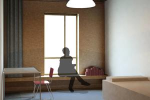 Abb. 10: Studenten-apartment TOP: Die Vorteile der Holzkon-struktion sind für die Bewohner direkt erfahrbar, denn die Holzfassade formt eine zusätzliche Sitzgelegenheit
