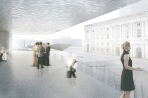 Gewinnerentwurf: Schweger Partner Architekten, Hamburg, auf der öffentlichen Zwischenebene, hier Blick auf das Schloss (mit merkwürdigem Kuppelansatz)