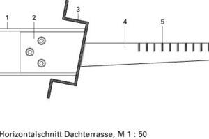 Legende Detail 2<br /><br /><br /><br />1Stahlträger<br />2Verbindungsblech<br />3Omega-Profil aus Stahl<br />4Stahlschiene als Stütze der verstärkten Laufbühne<br />5Gitter aus geschweißten Stahlschienen mit Konsole<br />6U-förmige Führungsschiene für aufgehängtes  PVC-Wälzlagersystem<br />
