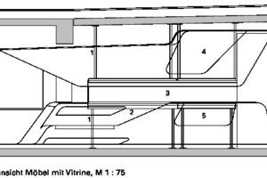 Detailschnitt Möbel mit Vitrine, M 1:75