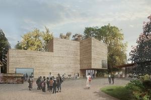 Haus für Kunst und Pavillon (rechts), Sicht aus dem Berower Park. Das Baumaterial des neuen Hauses ist gestampfter Beton. Dessen Struktur ist offenporig. Sie wirkt natürlich und lebt von den unregelmässigen Schichtungen des Lage für Lage gegossenen und gestampften Betons, die man an den Fassaden ablesen kann