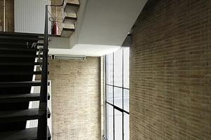 Treppenhaus mit Tageslicht und Handlauffunktinalität. Heizkörper in Vorwandmontage vor Einscheibenverglasung
