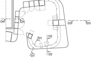 Grundriss Detail Empfang, M 1:125