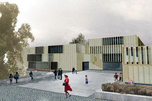 Ansicht der Deutschen Schule Warschau, Computersimulation, Staab Architekten, Berlin