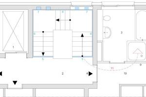 Abb.5: Übertragungsweg des Trittschalls vom Treppenhaus in den Empfangsraum (Bad) und Trittschalldämmung mit Schöck Tronsole